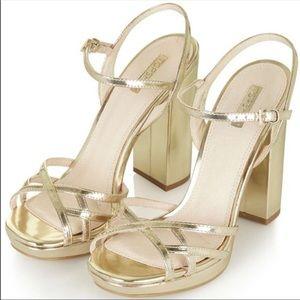 Topshop gold metallic heels